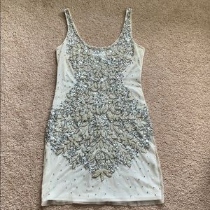 Adrianna Papell mini dress, cream with sequins